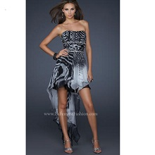 La Femme High Low Zebra Party Dress